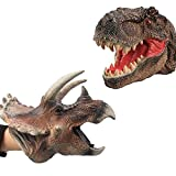 JoltMemori Dinosaur Toys for Kids 3-5 Soft Dinosaur Hand Puppet Tyrannosaurus and Triceratops Great Gift for Boys (2 Pack)