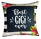 DECOPOW Best Gigi Ever Throw Pillow Cover,Cotton Linen Decorative Throw Pillow Case 18 X18 Inches (Cover Only)