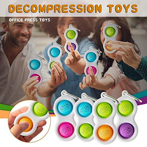 Simple Dimple Toy Keychain Stress Relief and Anti-Anxiety Relief Autism Toy Gift for Kids Adult Mini Push pop Bubble Fidget Sensory Toys Stress Relief Sensory Finger Toy