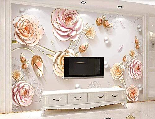 RCIFGU Wallpaper murals 3D Embossed Fashion gem Flower Self-Adhesive Photo Wallpaper Living Room Bedroom Office Corridor Decoration Murals Modern Wall Decoration 400x280cm