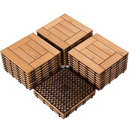 Topeakmart 27PCS Interlocking Wood Floor Tiles Outdoor Wooden Flooring 12 x 12in Natural Wood