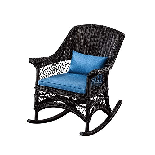 Casual Rocking Chair Rocking Chair - Wicker Rattan Patio Yard Furniture All- Weather with Cushions,48x52x85cm