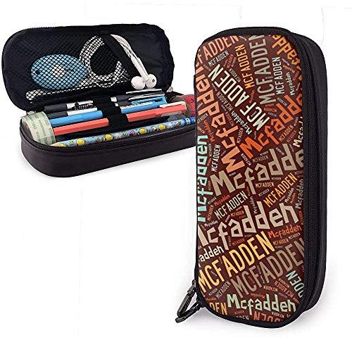 McFadden - Apellido americano Estuche de lápices de cuero de gran capacidad Bolígrafo Papelería Organizador Organizador Pluma de maquillaje escolar Bolso de viaje