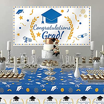 """2021 Graduation Decorations, Graduation Party Supplies, Large Graduation Banner Backdrop, Graduation Tablecover (107""""x 52"""") and Graduation Party Banner Backdrop (70.8""""x42.9"""")(Blue"""