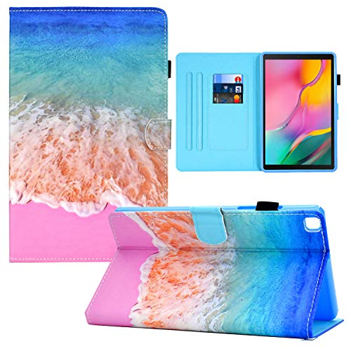 Galaxy Tab A 8.0 2019 Case, RASUNE Multiple Viewing Angles Stand Card Slot Cover PU Leather Folio Protective Slim Case for Samsung Galaxy Tab A 8.0 (2019) Model SM-T290/T295/T297 -Ocean