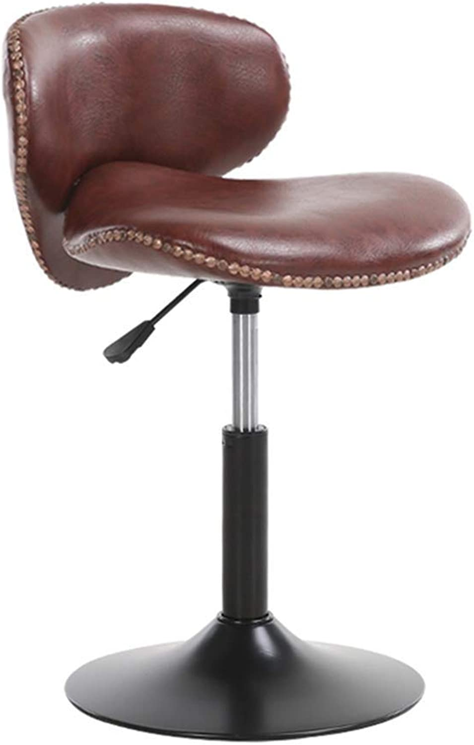 Chair Footstool with PU Seat Back redating Gas Lift Height Adjustable Restaurant Bar Cafe HENGXIAO (color   Brown, Size   42-57cm)