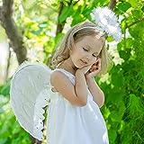 Hook Engelsflügel Weiß, Engel Flügel Kostüm und Heiligenschein für Damen, FederflügelEngel Weiss für Halloween Karneval Cosplay Party Fasching Kostüme, + 8 pcs Tätowierung Wasserdicht.