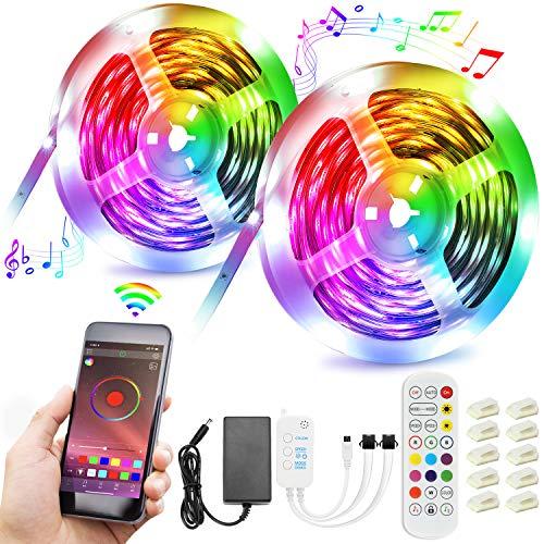 Tiras LED,15M Luces LED Inteligentes Musica RGB 5050 Tira LED de Interior Habitación con 20 Colores y 21 Modos de Control APP y Remoto para Fiesta,Bar,Decoración[Clase de Eficiencia Energética A +++]