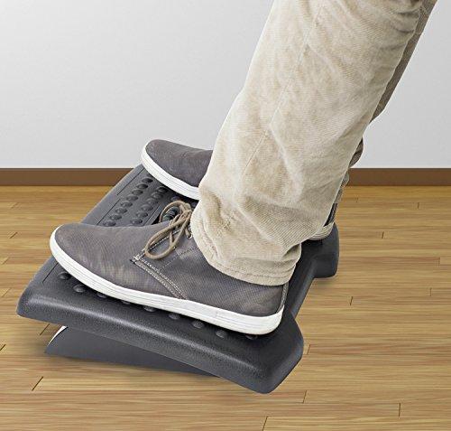 Mount-It! Adjustable Footrest with Massaging Rollers   Ergonomic Foot Rest Under Desk   Tilting Office Desk Footrest   Anti-Fatigue Massaging Footrest