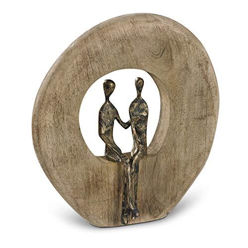 Moritz Skulptur Niemals allein Mangoholz Alu Massive Mangoholz-Baumscheibe Handarbeit 24,5 x 23 cm Schwarz Gold
