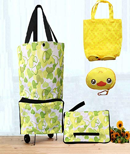 Cocobuy 2 Packs Foldable Shopping Bag with Wheels Collapsible Trolley Bags Reusable Grocery Bags Shopping Trolley Bag Wheels Shopping Bag for Shopping Home Kitchen Supermarket Travel(Green Heart)