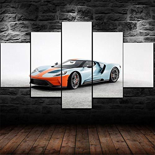 KOPASD 5 Panel Wall Art Painting GT Heritage Edition Car on Canvas Wall Art for Living Room Bedroom Home Decorations