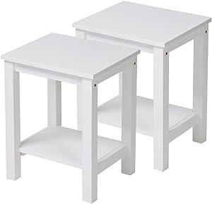 Set di 2 comodini da notte/tavolini da salotto legno di pino bianca