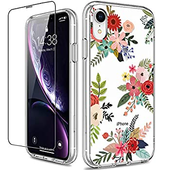 GiiKa iPhone XR Case with Screen Protector Clear Heavy Duty Protective Case Floral Girls Women Shockproof Hard PC Back Case with Slim TPU Bumper Cover Phone Case for iPhone XR Flowers