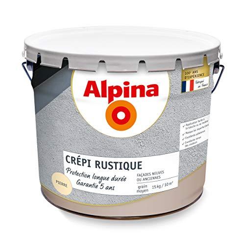 ALPINA Crépi rustique extérieur - Garantie 5 ans - Mat Ton Pierre 15Kg 10m²