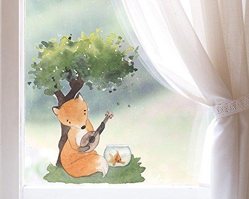 TinyFoxes Fensterbild Fuchs musiziert - Deko für Das Kinderzimmer