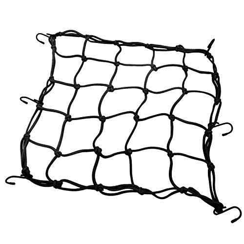 """PsmGoods® Heavy-Duty 15 """"Fracht Net Motorrad Fahrradausrüstung Ladung Gepäck Mesh Bungee Net für Motorräder Geländefahrzeuge Streckt bis 30"""" 40 x 40cm (Schwarz)"""