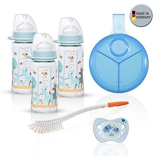 NIP biberon verre, 3 x 240ml couvercle Lo Auger anatomique, Silicone, Taille 0 +, Lait + Distributeur de lait en poudre, Soft brush