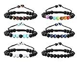 Finrezio 6pz Bracciale Diffusore Roccia Lavica Bracciale 7 Chakra in Pietra Occhio di Tigre Yoga Braccialetti di Perline Braccialetto di Olio Essenziale di Aromaterapia Regolabile