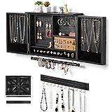Sunix Organizador de joyas rústico, soporte de pared de joyas de malla, soporte de madera para collares, pulseras, pendientes, anillos,...