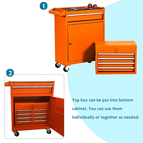 5-Drawer Tool Chest, Detachable Rolling Tool Storage Box, Large Tool Chest with Sliding Drawers, Garage Tool Box with Wheels, 2 in 1 Multi-purpose Tool Organizer for Home (Cool Orange)