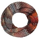 Lierys Jasila Bufanda enrollada Mujer - Bufanda redonda multicolor con lana virgen - Bufanda de punto Made in Germany - Invierno - Bufanda lavable óxido