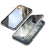 iPhone X/XSケース 両面強化ガラス アイフォン X/XS 対応 ガラスケース アルミ バンパー 表裏 前後 透明両面ガラス 360°全面保護 ケース磁気吸着 マグネット式 アルミバンパー 取り付けやすい アイフォンX/XS カバー ガラス 全面ガラス ワイヤレス充電対応 【iPhone X/XS-シルバー】