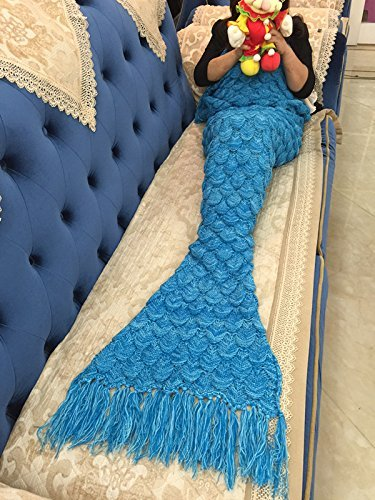 "Handmade Mermaid Tail Blanket Crochet , Ibaby888 All Seasons Warm Knitted Bed Blanket Sofa Quilt Living Room Sleeping Bag for Kids and Adults (72.8""x35.5"", Fish-scales Tasseled Sea Blue)"