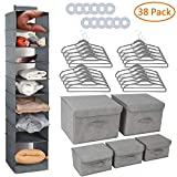 RONRI Nursery Organizer and Storage Closet Set 38 Pc, 20pc Thicker Flocked Velvet Hangers, 12pc 12 Clothes Dividers, 5pc Storage Box Bin