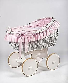 comprar comparacion Cesta de mimbre, moisés «Bianca DUE Pink Solid» blanco & rosa, la cuna, cuna de MJmark