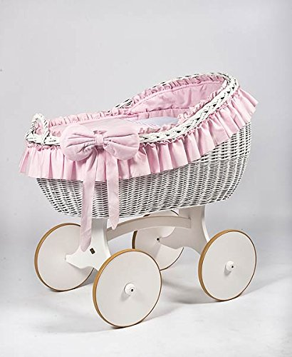 MJMARK Brand New Wicker Crib Moses Basket Cot 'Bianca DUE' SOLID (PINK)