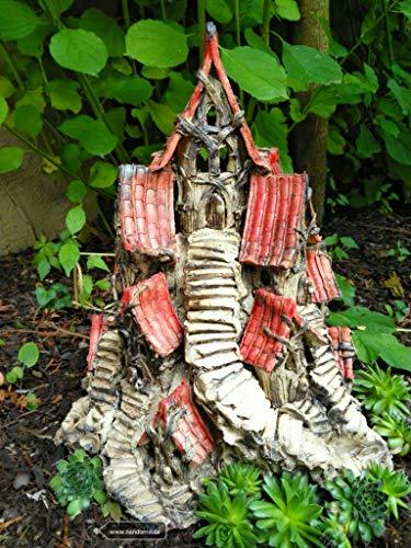 Wichteldorf Keramik Feengarten Elfenland beige rot Gartendeko Sommer Fairygarden