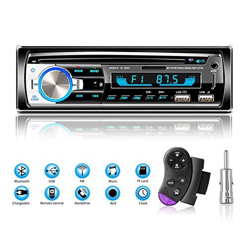 Radios de Coche Autoradio Bluetooth Manos Libres, Lifelf Radio Estéreo 4 x 65 W 1 Receptor de Radio para Coche DIN con Reproductor de MP3, Control Remoto WMA FM, Dos Puertos USB (No RDS/CD/DVD)