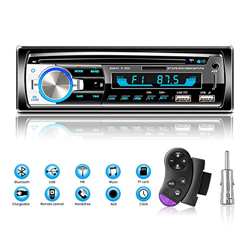 Preisvergleich Produktbild Lifelf Autoradio mit Bluetooth Freisprecheinrichtung,  65W*4 Bluetooth Autoradio 1 Din mit Lenkrad-Fernbedienung,  FM / AM / MP3-Player / 2*USB / TF / AUX Audio / Antenna Adapter