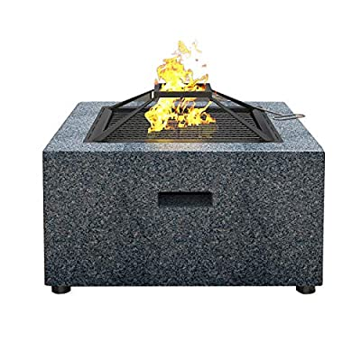 WSCQ Outdoor Fire Pit Bowl, Fire Pit with BBQ Grill Shelf Ø 70 cm Fire Bowl out of Steel with an Edging of MgO Artificial Stone with Waterproof Cover for Garden Patio by WSCQ