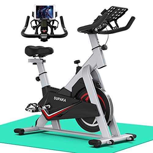 SUPAKA Spin Bike, Indoor Cycling Bike Stationary, Exercise Bike for Home Cardio Gym, with Magnetic Resistance, 35 LBS Flywheel, Thickened Frame Upgraded Version (Grey)