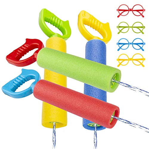 Gvoo Water Gun, Multi-colour Water Pistol Long Shooting Distance Summer Kid Toys for Swimming Pool and Beach with Glasses - 4 Packs
