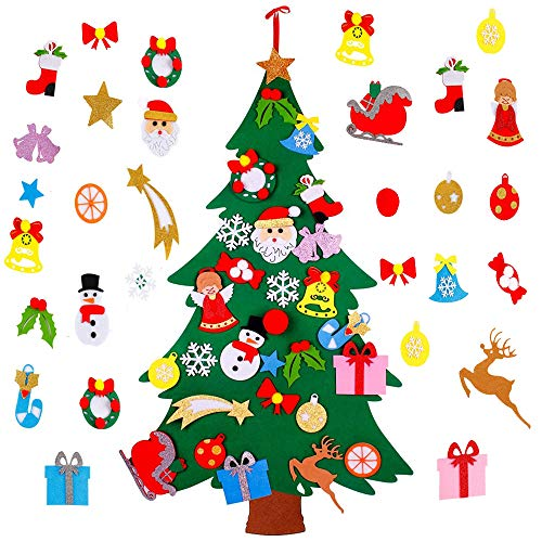Estay DIY Christmas Tree Hanging Christmas Ornaments Home Decorations Kids Toddlers Xmas Gift (Gold-Powder Tree)