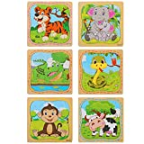 LovesTown Preschool Jigsaw Puzzles, 6 Pcs Wooden Animal Toddler Puzzles 16 Pieces 2-5 Years Old Toddler Puzzles Animals Puzzle for Kids Gifts Preschool Educational Learning Toys