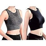2 Pack Racerback Sports Bras Women Removable Padded Mesh Medium Impact Workout Bra for Yoga Running
