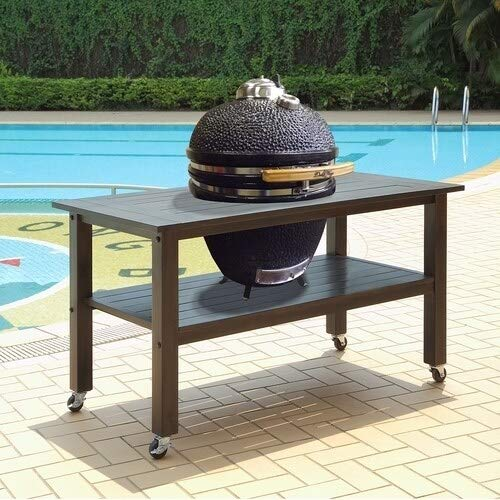 Duluth Forge CT-L-2-AG Table for 21 Inch Ceramic Charcoal Kamado Grill and Smoke, Antique Grey