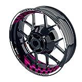 OneWheel Felgenaufkleber für Motorrad - Renngrib - passend für 17' Felgen/Vorder- und Hinterrad beidseitig | Zweiteiliger Aufkleber | Premium Felgenrandaufkleber - Design2 - komplettes Set (pink)