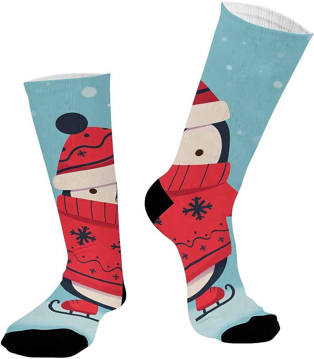 INTERESTPRINT Athletic Sublimated Crew Socks for Adults Penguin Skating Cartoon