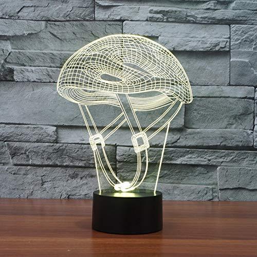 LLZGPZXYD 3D-ledlamp, creatief, voor thuis, slaapkamer, fiets, kinderhelm, nachtlampje, tafellamp, 7 kleurverandering, sportlamp, verlichting Touch Switch