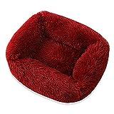 Lits Square Super Soft Dog Chaud Peluche Chat Tapis Cat Dog Lits pour Grand Chiens Chiot Bed Maison Coussin Coussin Coussin Pet Accessoires (Color : Wine Red, Size : 66x56x18cm)