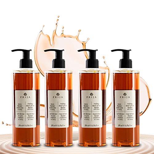 Prija Shampoo Shampooing Douche Gel Douche Ginseng 4x 380 ml + 1x Gel Pump testé dermatologiquement Minimiser les allergies sans parabens, végétaliens ni silicone sur une base naturelle