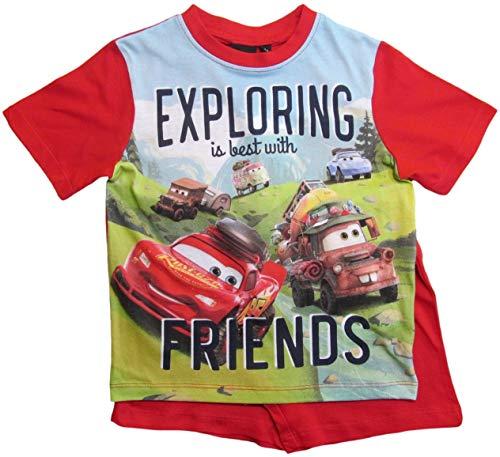 Cars Disney 3 Schlafanzug Jungen Shorty Lightning McQueen (Rot, 122-128)