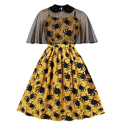 Damesjurk, korte mouwen, bedrukt, vintage-jurk, met zoomsluiting, mouwloos, met korte mouwen, S, beige