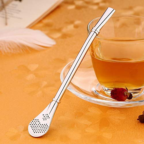 Stainless Steel Double Ring Suction Spoon Double-Side Filter Hole Multi-Purpose