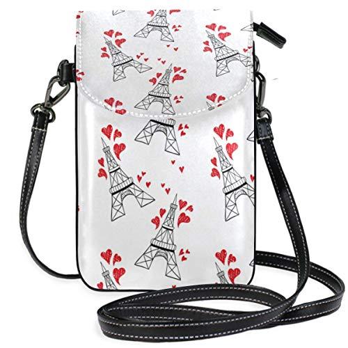 XCNGG Monedero pequeño para teléfono celular Eiffel Towel With Hearts Pattern Cell Phone Purse Wallet for Women Girl Small Crossbody Purse Bags